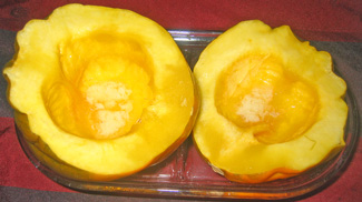 Acorn squash just out of the microwave