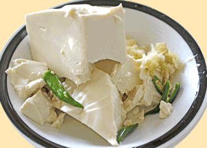 Ingredients include silken firm tofu, mashed ginger and garlic and green chilies