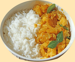 Cooked potato curry served with Rice