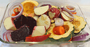Vegetables in baking tray